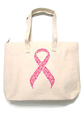 Bag135 Pink Ribbon Tote Bag/ Natural