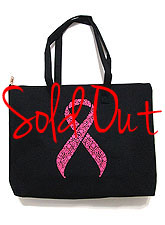 Bag136 Pink Ribbon Tote Bag/ Black