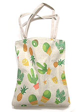 Bag138 Tropical Cactus & Fruit Oblong Eco Bag/Natural