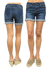 Denim043 Roll-Up Denim Shorts/ Denim