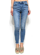 Denim052 Fringe Hem Skinny Crop Denim/Washed Denim