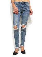 Denim056 Knee Damage Unfinished Skinny Denim/Denim