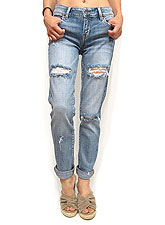 Denim065 Mid Rise Relaxed Skinny Denim/Washed Denim