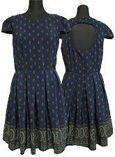 Dress098 Classic Pleated Dress/ Navy