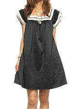 Dress099 Square Neck Lace Trim Dress/Black