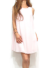 Dress127 Center Pleated A Line Chiffon Dress/Blush