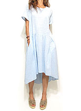 Dress131 Airy Cotton Mix Hi-Low Dress/Light Blue