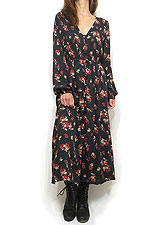 Dress140 Button-Down Floral Dress/Black
