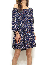 Dress142 Off-Shoulder Quarter Sleeve Rompers/Navy