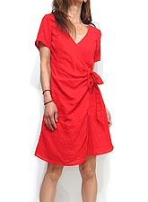 Dress144 Crossover Cotton Dress/Red