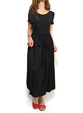 Dress146 Waist Tie Pleated Dress/Black