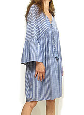 Dress148 Bell-Sleeve Tassle Button Down Dress/Blue