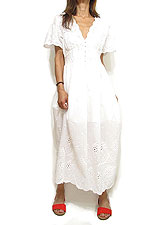 Dress149 Puff Sleeve Embroidery Dress/White