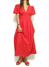 Dress150 Puff Sleeve Embroidery Dress/Red