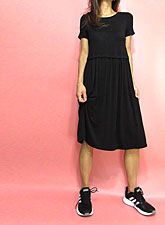 Dress152 Simple Knee-Length Gathered Dress/Black