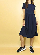Dress153 Simple Knee-Length Gathered Dress/Navy