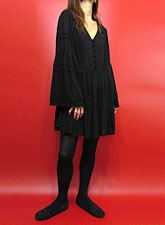 Dress154 Bell Sleeve Lace Trim Dress/Black