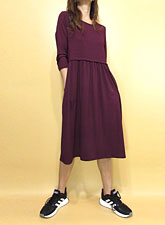 Dress155 Quarter Sleeve Gathered Dress/Burgundy
