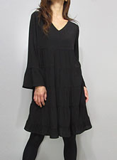 Dress158 V-Neck Tiered Dress/ Black