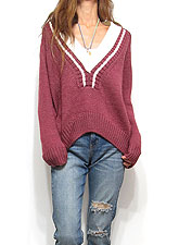 Knit189 Deep V College Sweater/Burgundy