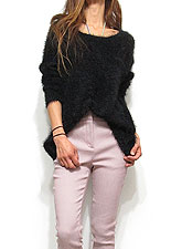 Knit193 Mohair Mix Fuzzy Sweater/Black
