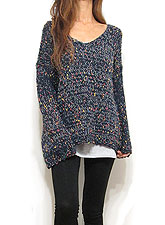 Knit211 Multi-Color Accentuated V-Cut Knitted Top/Navy