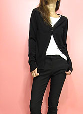 Knit219 Basic V-Neck Cardigan/Black