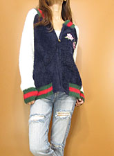 Knit223 Bi-Color Fuzzy Knit Stadium Jacket/Navy