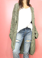Knit226 Long Cable Open Cardigan/Olive Grey