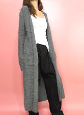 Knit230 Super Soft Maxi Long Open Cardinga/Grey