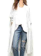 Outer069 Pin Stripe Cotton Wrap Coat/Off White