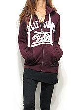Outer078 Cali Bear Zip-Up Hoody/Burgundy