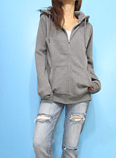 Outer087 Basic Zip-Up Hoody/ Heather Grey
