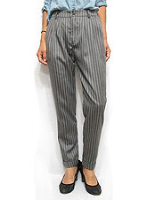 Pants151 Pin-Stripe Roll-Up Pants/Grey