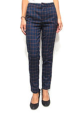 Pants155 Checkered Twill Sleek Pants/Navy