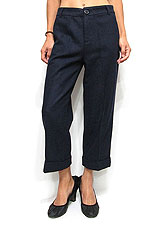 Pants157 Roll-Over Cropped Wide Pants/Navy