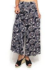 Pants179 Assymetric Layered Skirt Pants/Navy