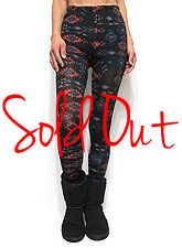 Pants212 Native American Print Leggings/Black