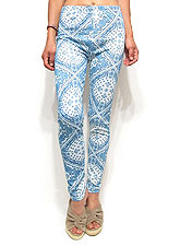 Pants219 Ornament Print Leggings/Blue