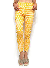 Pants221 Ornament Print Ankle Pants/Yellow
