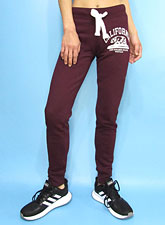 Pants246 Cali Bear Flocking Joggers/Burgundy