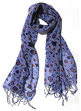 Scarf030 Flower Print Scarf/Purple