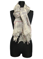 Scarf087 Square Plaid Summer Scarf/Taupe