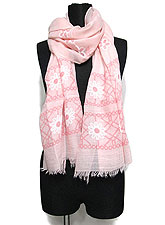 Scarf125 Daisy Print Stole/ Pink