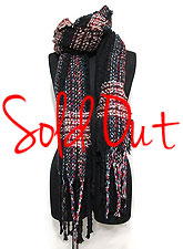 Scarf141 Multi Color Interwoven Stole/Black