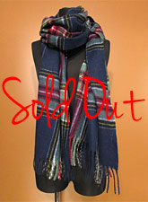Scaf156 Plaid Maxi Stole/ Navy Mix