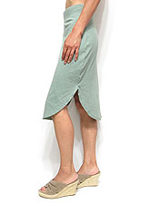 Skirt037 Round Hem Side Slit Jersey Skirt/Green
