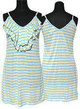 Tops257 Striped Tank Tunic w/ Frills/Green Mix