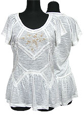 Tops323 Embroidered T w/ Lace Trim/White