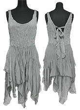 Tops328 Crinkle Assymetric Tunic Dress/Grey